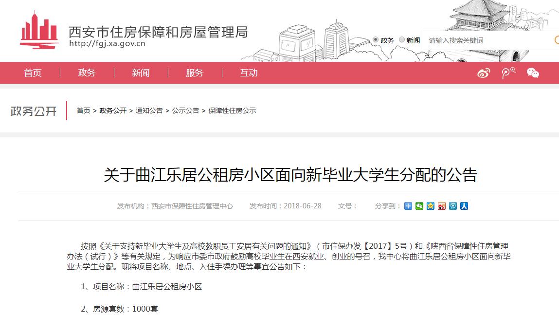 2018西安曲江乐居小区面向新毕业大学生分配通知