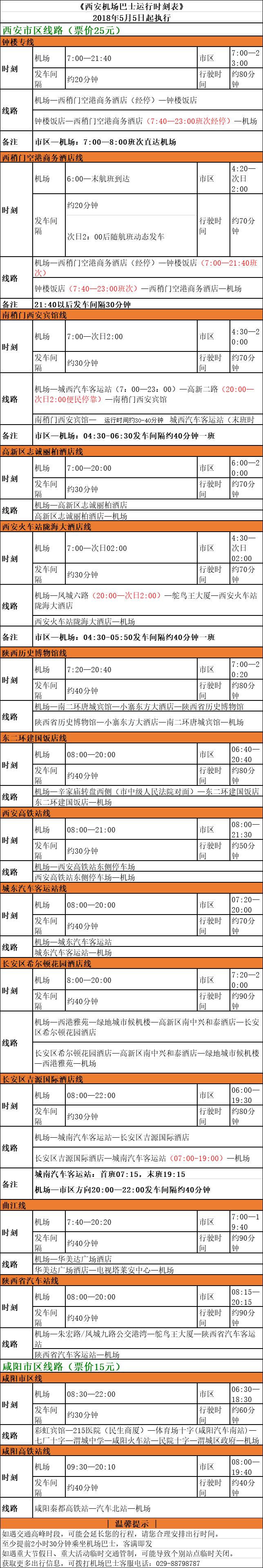 2020西安机场大巴时刻表(时间+线路)