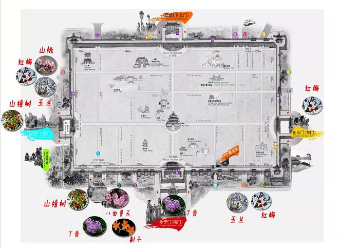 西安城墙春季赏花地图