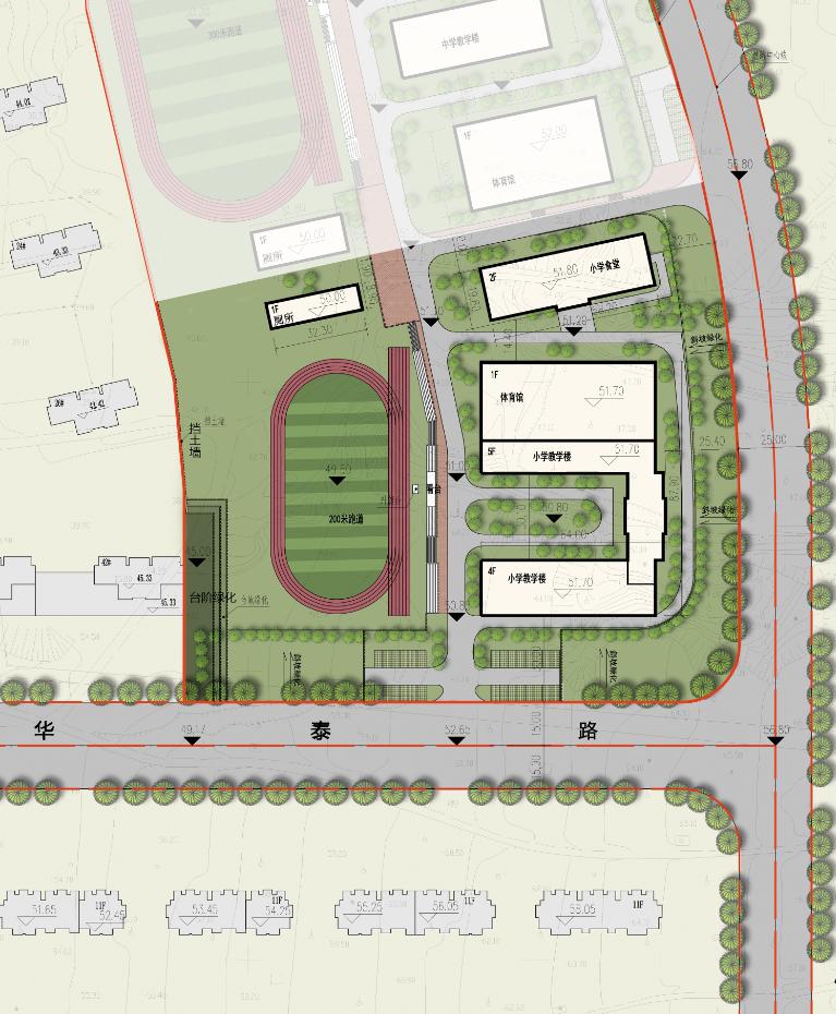 烟台康和新城小学平面图及选址红线图