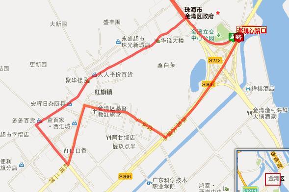 珠海微公交Z116路环线线路图、站点设置详情