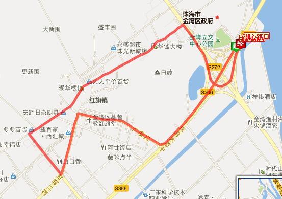 珠海微公交Z117路环线站点设置、线路图