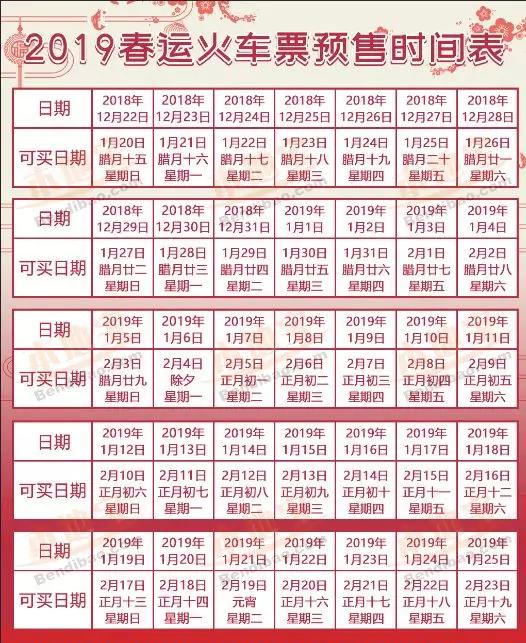 珠海2019春运火车票预售时间表