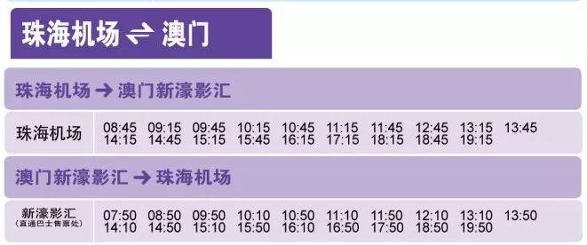 珠海机场到澳门往返班线站点时刻表