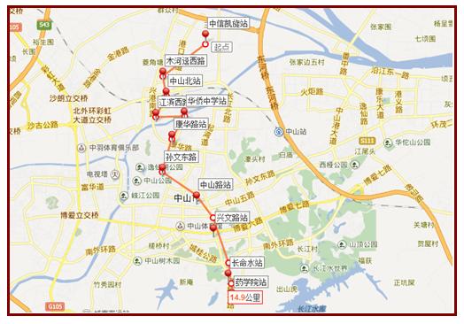 中山地铁1号线站点分布