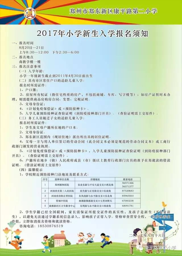 2017郑东新区康平路第二小学幼升小指南(划片北京小学划片入学图片