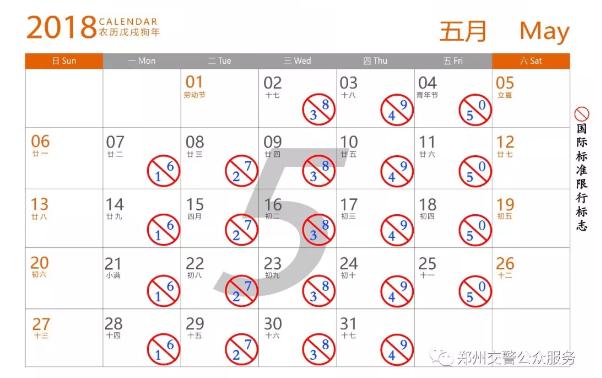 2018年5月郑州限行日历