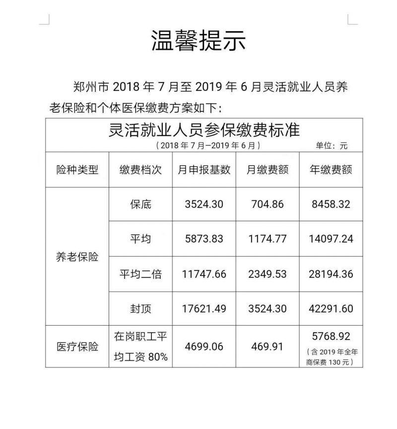 2018郑州灵活就业人员参保缴费标准(2018年7月-2019年6月)