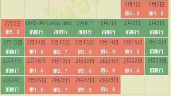 2019年2月郑州限行政策(时间+区域+尾号)