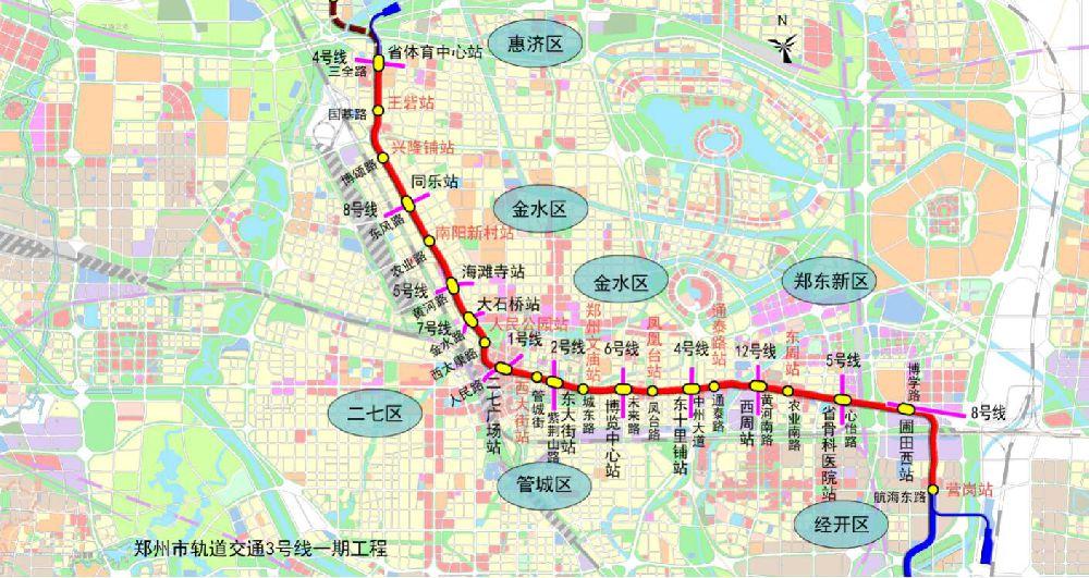 郑州地铁3号线一期站点拟定站名